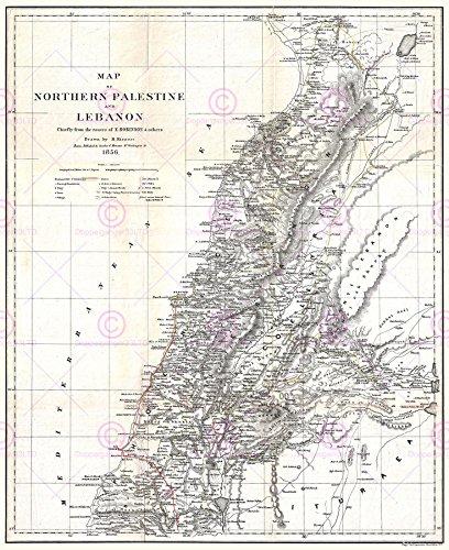 MAP ANTIQUE 1856 KIEPERT LEBANON HISTORIC LARGE REPLICA POSTER PRINT PAM0326