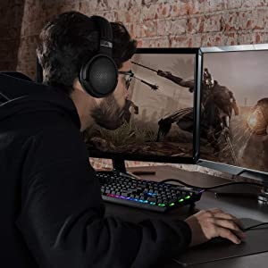 Audeze Mobius Premium 3D Gaming Headset with Surround Sound, Head Tracking and Bluetooth. Over-Ear Gaming Headphones for PCs, Playstation 4 and Others. (Color: Carbon, Tamaño: Mobius)