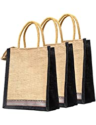 Multi-purpose Handbag Jute Bag/carry Bag/lunch Bag/shopping Bag (pack Of 3)
