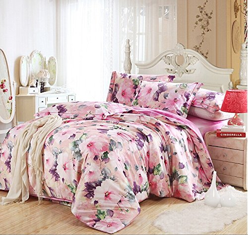 Lt Queen King Size 100% Egyptian Cotton 1200Tc 4-Pieces Pink Purple Flowers Girls Floral Prints Duvet Cover Set/Bed Linens/Bed Sheet Sets/Bedclothes/Bedding Sets/Bed Sets/Bed Covers/5-Pieces Comforter Sets (5, King) front-887816