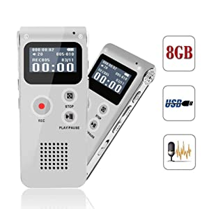 Voice Recorder, Digital Voice Recorder, MP3 Dictaphone with Playback, Rechargeable Tape Dictaphone Recorder for Lectures, Meetings, Interviews, Mini Audio Recorder, MP3 Player (Color: Sliver)