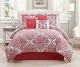 7 Piece Queen Fantasy Coral/White Comforter Set