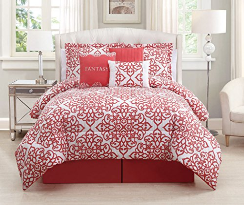 7 piece queen fantasy coral white comforter set your 1 for Naaptol kitchen queen set
