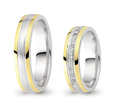 2 Wedding Rings 333 Gold Bicolour Zirconia Engagement Rings with Wedding Rings CC6103331