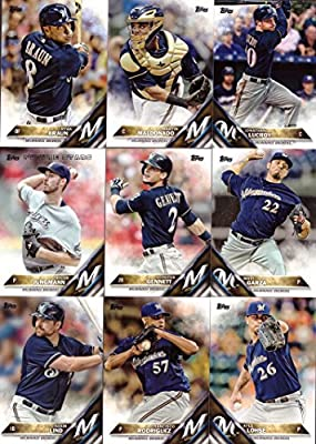 2016 Topps Series 1 Milwaukee Brewers Baseball Card Team Set - 9 Card Set - Includes Ryan Braun, Jonathan Lucroy, Adam Lind, Taylor Jungmann, and more!