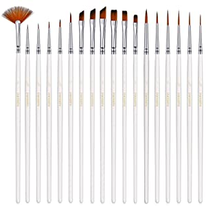 Small Enamel Paint Brushes Set - 18 Pieces Detail Painting Kit for Artists, Model, Minature, Acrylic and Watercolor Paint