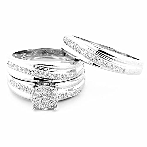 Midwest Jewellery Women's His And Her Rings Set Silver With Cz Pave Set 15Mm Wide 3Pc Set
