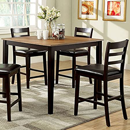 Moore Transitional Style Dark Walnut Finish 5-Piece Counter Height Table Set