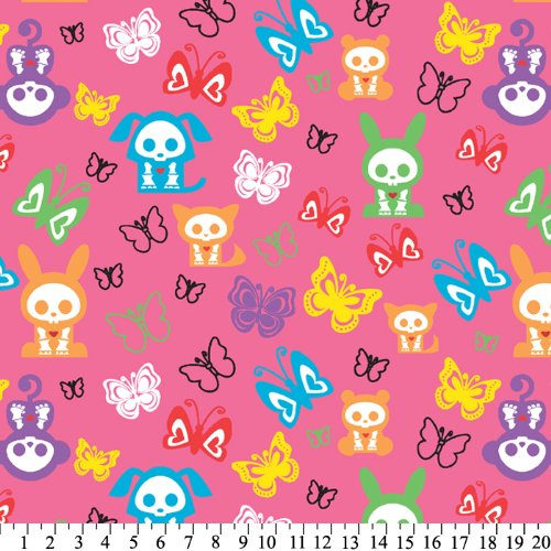Skelanimals: Butterflies And Characters Fleece Throw Blanket With Finished Edges front-641942