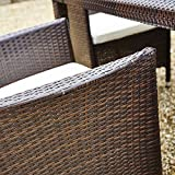 New 5 Piece Rattan Dining Table For Conservatory, Patio, Garden Furniture (Brown)