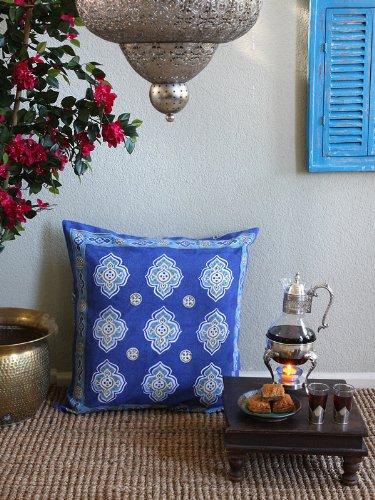 Casablanca Blues ~ Moroccan Theme Style Quatrefoil Euro Sham 26X26 front-472397