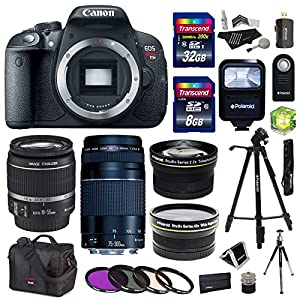 Canon EOS Rebel T5i 18.0 MP Digital SLR Camera with 18-55mm STM Lens + Canon EF 75-300mm f/4-5.6 III Lens + PLR Studio Series .43x High Definition Wide Angle Lens With Macro Attachment + PLR Studio Series 2.2X High Definition Telephoto Lens Travel Kit + 40 GB Storage + Tripod + Extra Accessories