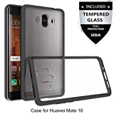 Huawei Mate 10 Case With Tempered Glass Screen Protector,IDEA LINE(TM) Ultra Slim Hard Crystal Clear Transparent Fused TPU For Huawei Mate 10 - Black