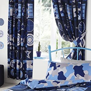 army camouflage kids boys luxury fully lined bedroom curtains set 66