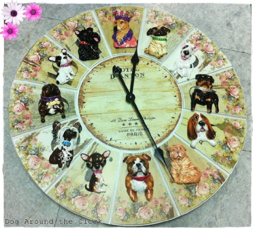 Dog Around The Clock Wall Clock Large 29 inches diameter Sweet Floral Vintage featured 12 dogs on Large Clock