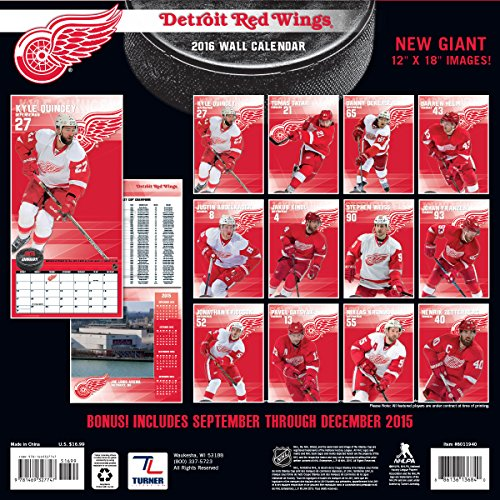 "Turner Detroit Red Wings 2016 Team Wall Calendar, September 2015 - December 2016, 12 x 12"" (8011940)"