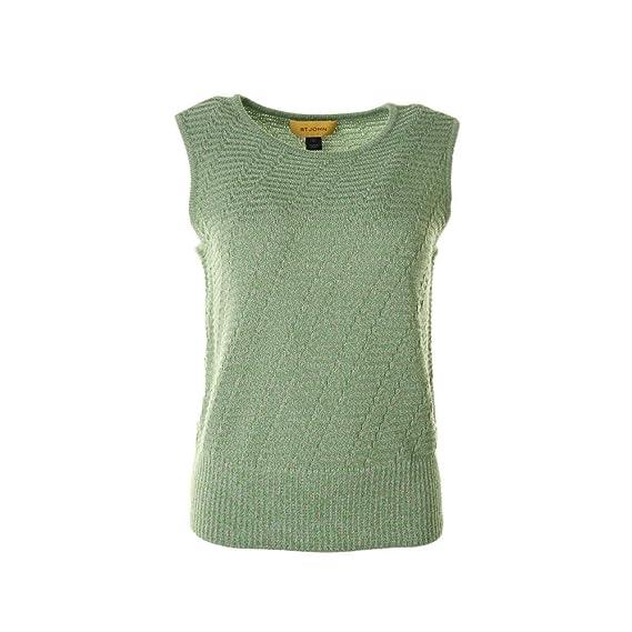 St John Womens Wool Textured Pullover Sweater