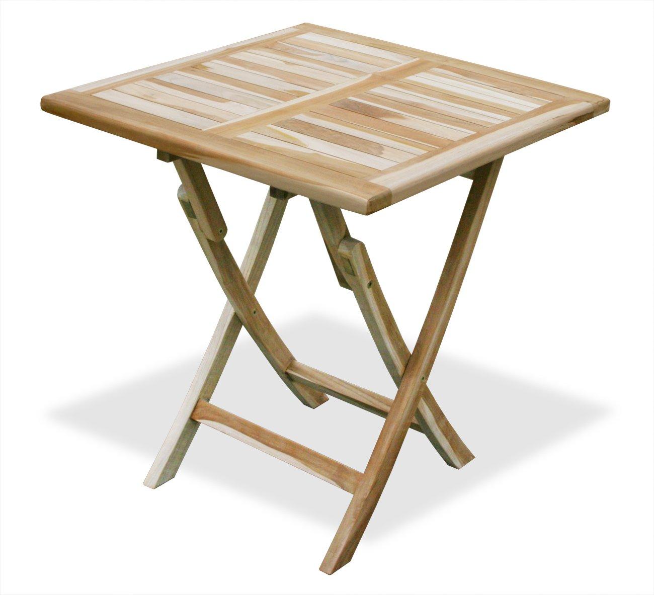 KMH®, Klapp - Tisch / Beistelltisch - ECHT TEAK! (70 x 70 cm) (#102027)