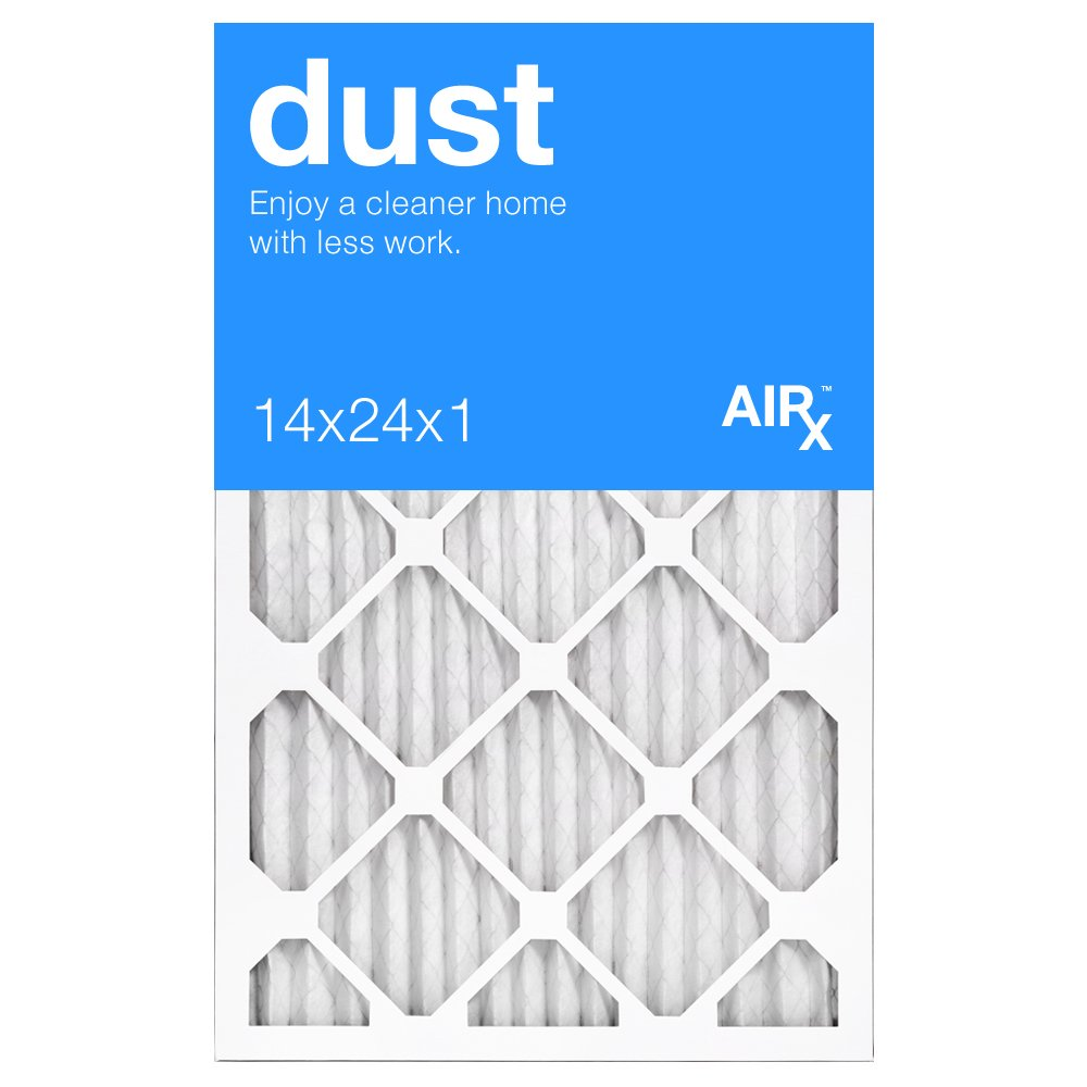 Best for Dust Control - AiRx DUST 14x24x1 Furnace Filters - Box of 6 - Pleated 14x24x1 MERV 8 Air Filters, AC Filter, Air Filter, HVAC Filter - Energy Efficient
