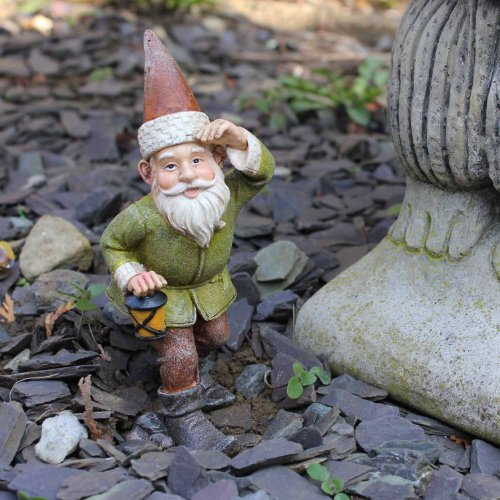 Andrew the Small Adventurous Resin Garden Gnome Carrying a Lantern