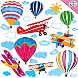 Airplanes & Hot Air Balloons Wall Decals for Kids Rooms, Baby Nursery, Boys and Girls Bedroom - Peel & Stick Removable Vinyl Wall Stickers - Extra White & Blue Clouds for Decoration - Best Decor Gift Ideas - Installation Guide Included