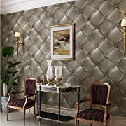 HaokHome 3233 Brown 3D Leather textured wallpaper Vinyl wallpaper mural 20.8″ x 393.7″