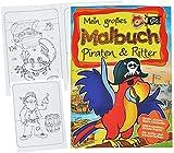 großes Malbuch A4 - Piraten & Ritter - Piratenschiff / Pirat / Ritterburgen / Burg / Schatztruhe - Malvorlagen für Jungen - groß Malbücher Schatzsuche zum Ausmalen Malspaß Kinder