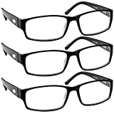 Reading Glasses 0.75| 3 Pack Black Readers For Men and Women Professional 9504 (Color: 3 Pack Black, Tamaño: 0.75)