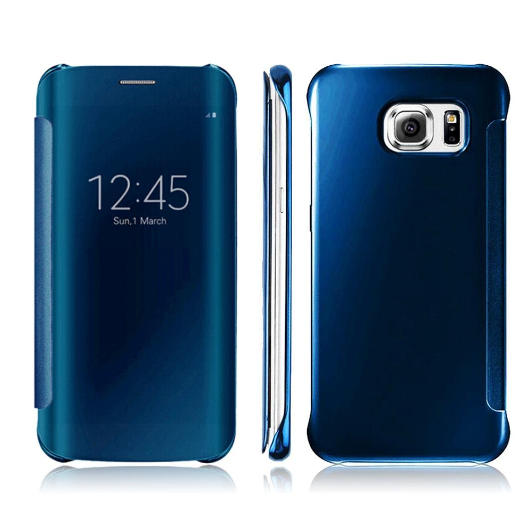 Galaxy S7 Edge Case, GOTD® (Tough Armor) HEAVY DUTY EXTREME Protection / Rugged but Slim Protective Case for Samsung Galaxy S7 Edge (2016), Clear View Mirror Flip Smart Case Full Cover - Sky Blue