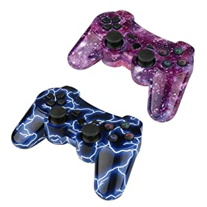 PS3 Controller Wireless 2 Pack Double Shock Gamepad for Playstation 3 Remotes, Sixaxis Wireless PS3 Controller with Charging Cable (Blue and Purple) (Color: Blue+ Purple)