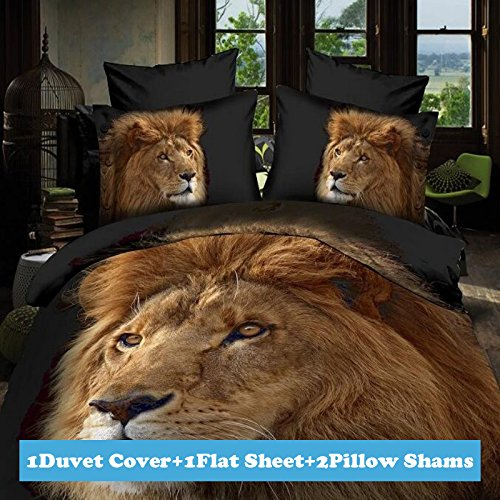 Lt Twin Full Queen Size 4-pieces 3d Big Golden Lion Head Black Prints Duvet Cover Sets/bedding Sets / Bed Linens (Queen, 1 Duvet Cover+1 flat sheet +2 Pillowcases)