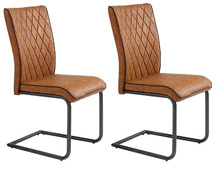 Conjunto de 2 sillas de comedor moderno Pablo en piel sintética de color fuerte conac
