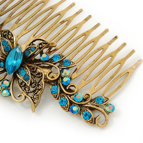 Vintage Inspired Teal Blue Swarovski Crystal 'Butterfly' Side Hair Comb In Antique Gold Tone - 105mm 4
