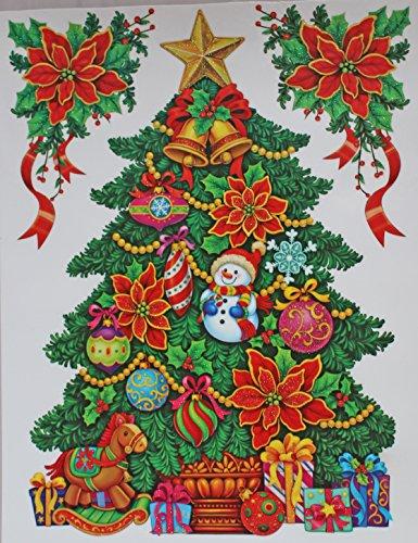 Decorated Christmas Tree Poinsettia Glitter Vinyl Window Cling