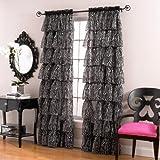 Lorraine Home Fashions Gypsy Zebra Ruffle Window Panel, 56 by 63-Inch, White/Black