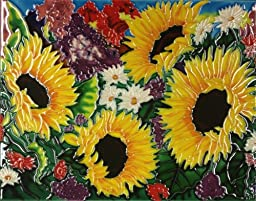 Continental Art Center HD 029 Four Sunflowers Art Tile, 11 by 14-Inch