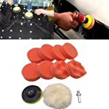 Iusun 10Pcs 3 inch Buffing Pad Kit For Polishing Wheel Auto Car With Drill Adapter (Multicolor,10Pcs) (Color: Multicolor,10Pcs)