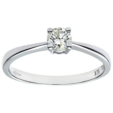 Naava 9ct White Gold Engagement Ring, IJ/I Certified Diamond, Round Brilliant, 0.33ct