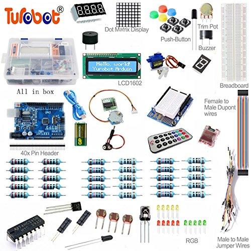 Turobot UNO R3 Starter Kit 1602 LCD Servo Motor Dot Matrix Breadboard LED for Arduino (Electrical Starter Kit compare prices)