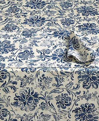 Captivating ... Ralph Lauren Bluff Point Floral Blue Tablecloth, ...