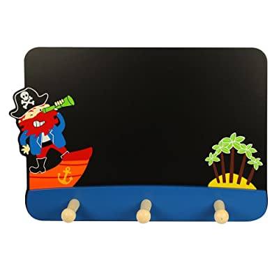 Wooden Pirate Blackboard with Coat Hooks