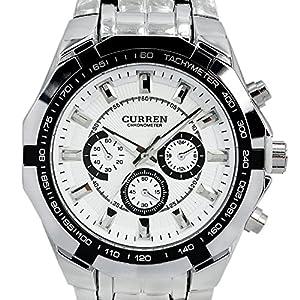 Readeel® New Quartz Hours Stainless Steel Water Resistant Men Analog Leisure Wrist Watch