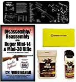 American Gunsmithing Institute DVD Disassembly & Reassembly Course Ruger Mini-14 & Mini-30 Rifles + Ultimate Arms Gear Gunsmith & Armorer's Cleaning Bench Gun Mat + Cleaner Protector Jet Spray Can + Care and Reel Silicone Cloth + Wipes Patches Oil Pop-Up