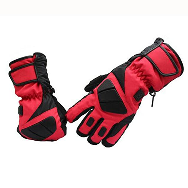 intelligente Controllo della temperatura elettro-termica guanti sciare impermeabile sided Riscaldamento Tenere caldo guanti rosso prodotto all'aperto