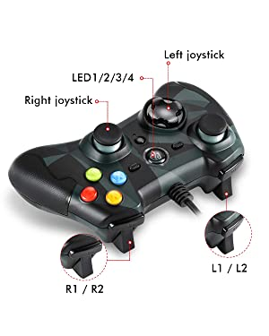 EasySMX Wired Game Controller Joysticks Dual Shock for Windows/Android/ PS3/ TV Box (Camouflage) (Color: Wired Camouflage)