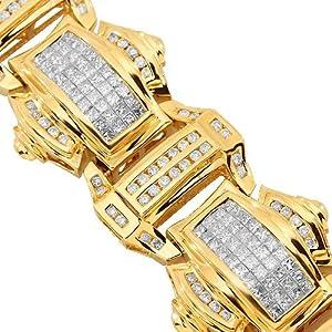 14K Yellow Gold Mens Diamond Bracelet 13.52 Ctw
