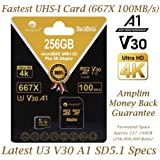 256GB V30 A1 Micro SD SDXC Memory Card Plus Adapter Pack (Class 10 U3 UHS-I MicroSD XC Card) Amplim Extreme Speed 667X 100MB/s UHS-1 256 GB MicroSDXC TF Card - Cell Phone, Drone, Camera (Color: Black 256GB, Tamaño: MicroSD)