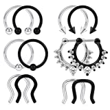 SCERRING 12PCS 16G 316L Stainless Steel Septum Hoop Nose Ring Horseshoe Rings Cartilage Daith Tragus Clicker Retainer Body Piercing Jewelry Silver and Black (Color: 12PCS - Silver&Black)
