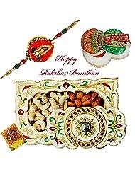 Rajlaxmi_Lovely Sandal Wood Rakhi With Dry Fruit Box And Chopda