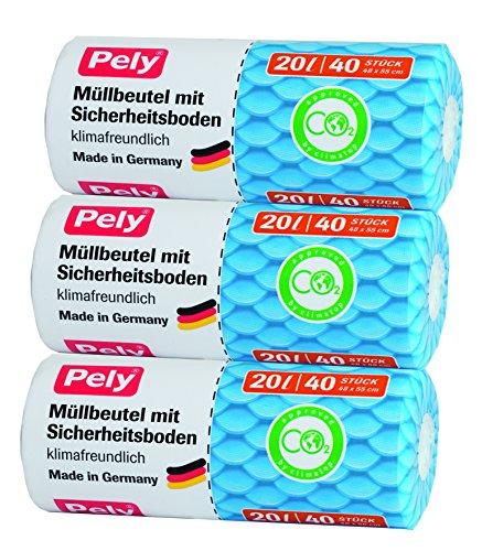 Pely 5994-sacs poubelle écologiques avec fond renforcé 20 l/40 lot de 3 pièces